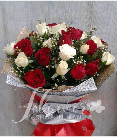 1 Dozen Red and 1 Dozen White Roses