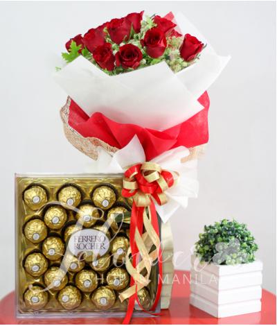 1 Dozen Red Roses and 24 pcs. Ferrero