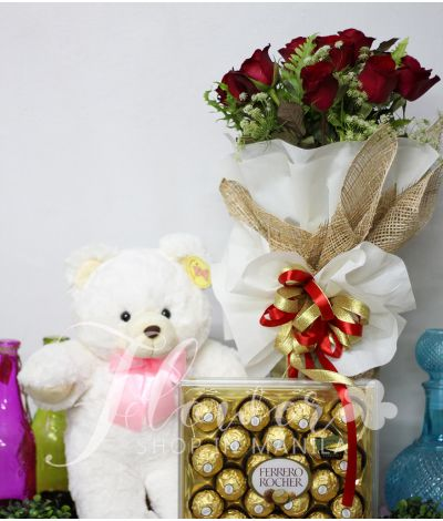 1 Dozen Red Roses with Bear and Ferrero
