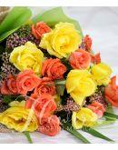 1 Dozen Yellow and 1 Dozen Peach Rose (Round Bouquet)