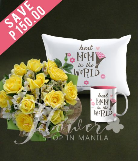 1 Dozen Yellow Roses with Mug and Pillow for Mom