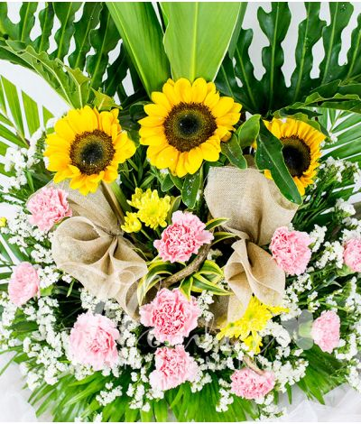 3 Sunflowers and 10 Carnations in a Vase
