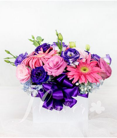 A Box of Mixed Vibrant Flowers