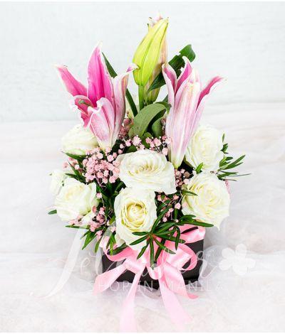 A Square Box of 1 Dozen White Roses with Stargazer
