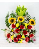 Charming Sunflowers and Carnations in a Vase