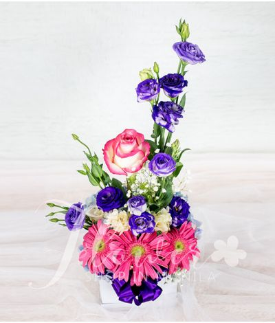 Vibrant Flowers in A Square Box