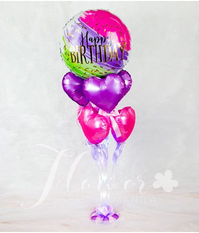 Happy Birthday Balloon with Hearts and Fairylight