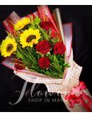 3 Sunflowers and 5 Red Ecuadorian Roses