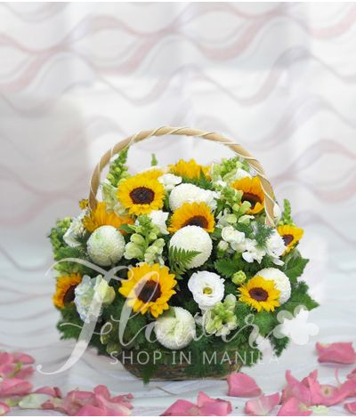 An Elegant Basket of Sunflowers