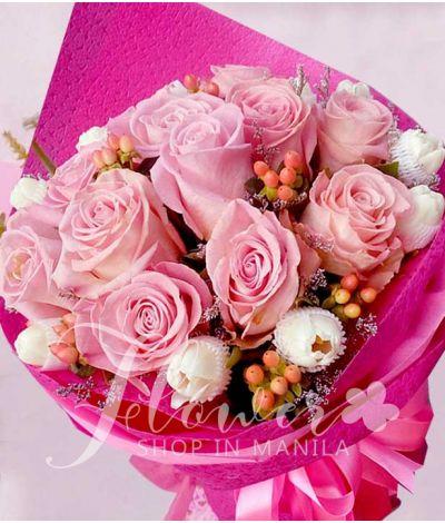 1 Dozen Pink Ecuadorian Roses and 1 Dozen White Tulips