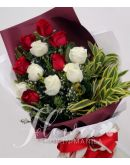 1 Dozen Imported Red and White Roses