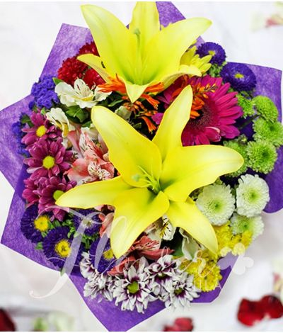 2 Yellow Lilies with Mixed Colorful Flowers