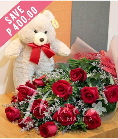1 Dozen Ecuadorian Red Roses with Bear