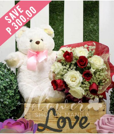 1 Dozen Red and White Roses with Bear