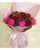 1 Dozen Red Imported Roses and Pink Carnation