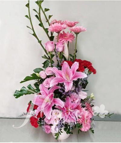 Vertical Pink and Red Flowers