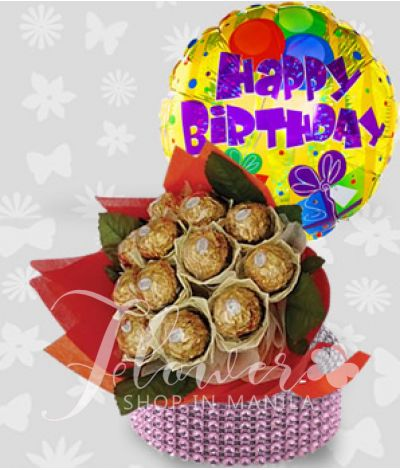 chocolate bouquet with happy b-day balloon