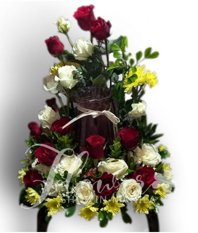 Beautiful Red and White Roses Urn Flower Arrangement