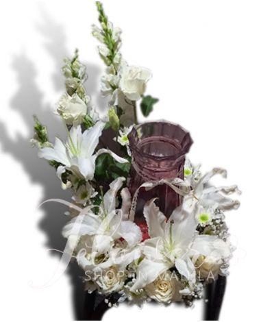 Brilliance Mixed White Urn Flower Arrangement