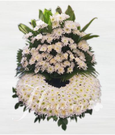 Elegant White Rados Urn Flower Arrangement