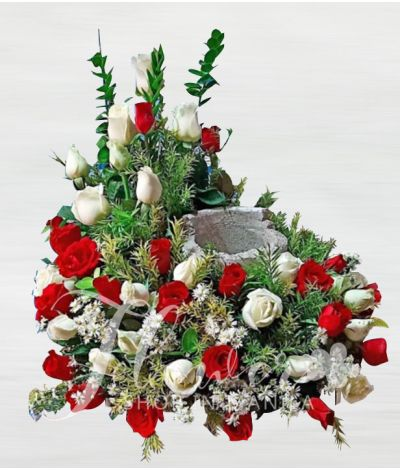 Elegant Red and White Roses Urn Flower Arrangement
