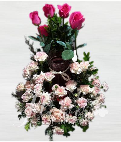 Gorgeous Pink Roses Urn Flower Arrangement