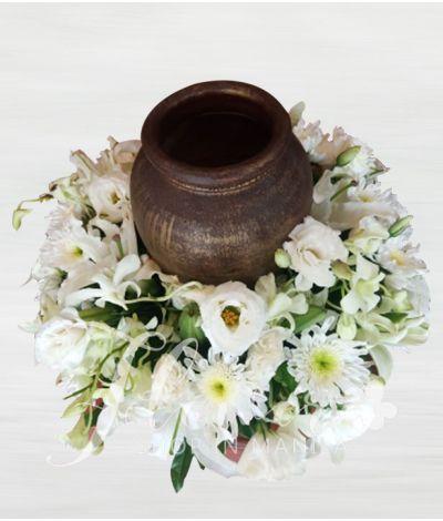Sincerity White Urn Flower Arrangement