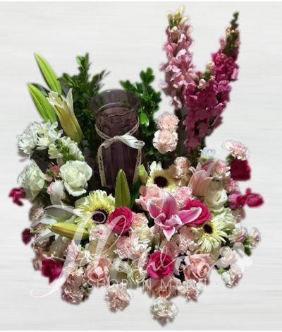 Vibrant  Pink Roses Urn Flower Arrangement