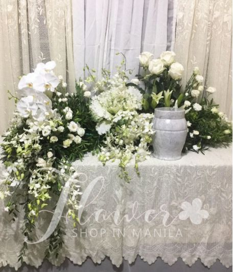 White Elegant Urn Flower Arrangement
